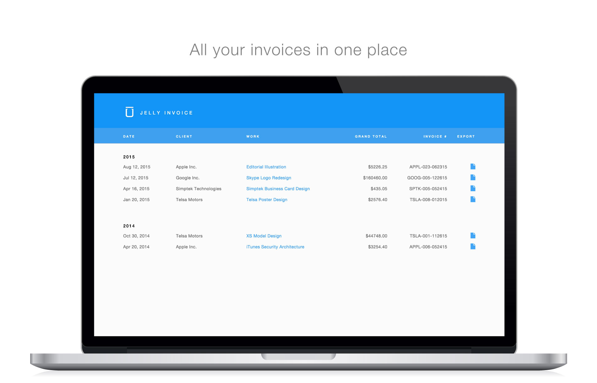 Preview of Jelly Invoice's Index of Invoices