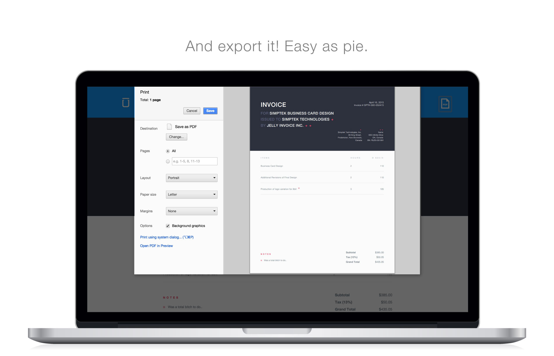 Preview of Jelly Invoice Exporting an invoice